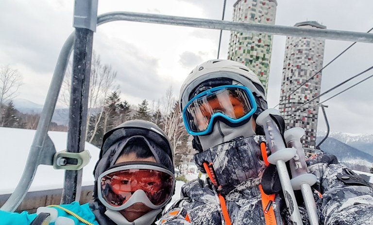 Father and Son Ski Bonding